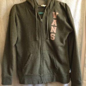 Vans army green / olive zip hoodie sweatshirt